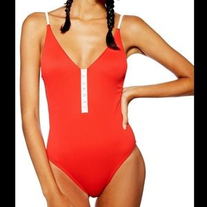 Topshop Pamela Button Ribbed One-Piece Swimsuit